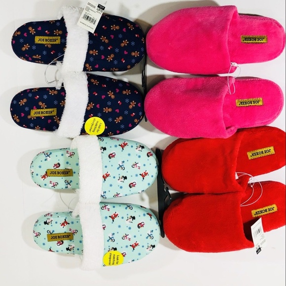 07895b6fb52e5 Joe Boxer Slippers Lot Bundle of 4 Pairs Med LRG